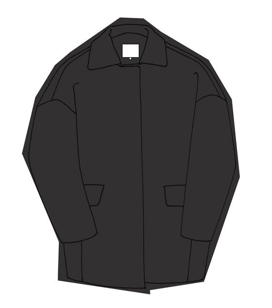 Manteau noir enveloppant accro de la mode - Manteau dessin ...